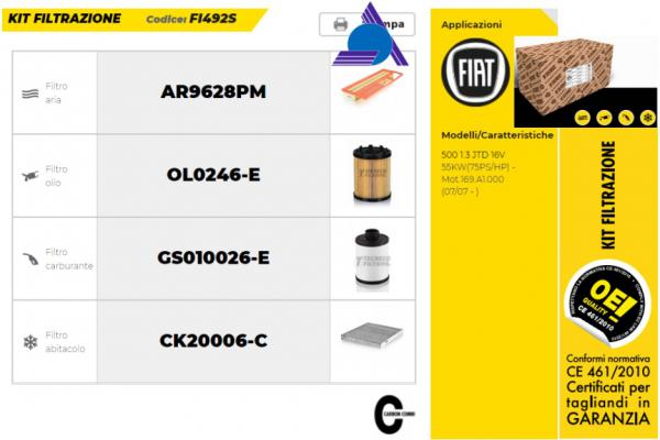 KIT FI492S - FIAT 500 (3P) (07/07>) 1.3 Multijet 16V Ber. 3p/d/1248cc